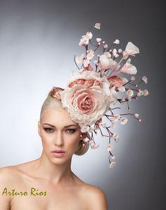Cherry Blossom Fascinator, Blush Headpiece, Cocktail hat , Spring Hat, Couture Hat, Derby Hat