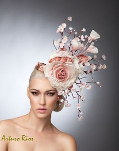 Cherry Blossom Fascinator, Blush Headpiece, Cocktail hat , Spring Hat, Couture Hat, Derby Hat
