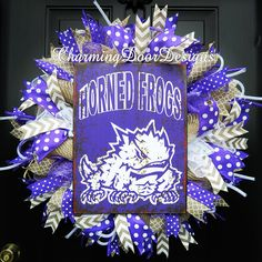 Custom order for a TCU Horned Frogs wreath by CharmingDoorDesigns on Etsy