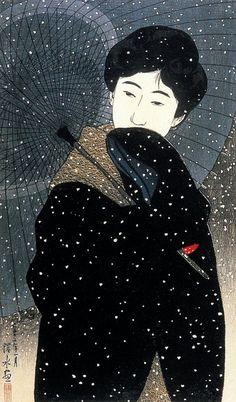 "Night Snow | From the series ""New Twelve Images of Beauties""  Shin Bijin Juni Sugata: | Artist: Ito Shinsui (1898-1972) | Published by Watanabe Shozaburo, 1923."
