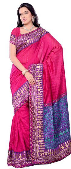 $66.36 Pink Bhagalpuri Silk Saree 23529