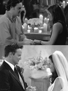 Chandler and Monica - engagement...wedding I always loved Chandler and Monica's romance better than Ross and Rachel's... But love em both...❤❤❤