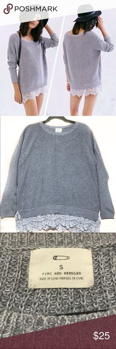 Urban Outfitters Lace Trim Sweater Grey lace trim sweater from the brand Pins and Needles at urban Outfitters. in perfect condition/no flaws! Size small Urban Outfitters Sweaters