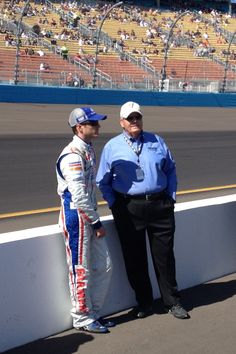 Kasey and Mr. Hendrick talking before qualifying at Phoenix.