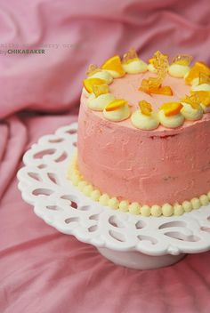 milky strawberry orange marmalade cake.