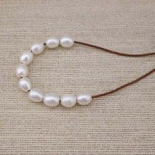 ETS-L0025 Freshwater Pearl Loose Pearl Bead White 10-11mm Big rice Pearl 2.5mm Large Hole Loose Bead, 10 pieces