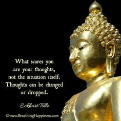 what scares you are your thoughts, not the situation itself. thoughts can be changed or dropped. -eeckhart tolle