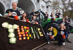 Wow – what a day so far! We've just come back from London's Marble Arch, where we were joined by ONE members, a tractor, and a large vegetable display spelling out THRIVE. Yes, really!