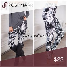 Best Abstract Brushed Super Soft Leggings You will not want to take these super soft fabulous leggings off . Brushed soft material . Spandex poly blend . Tye Dye . Perfect with tunics . Year round material . NWOT . One size fits most from size small through size 14 . Also available in solid black . Vivacouture Pants Leggings