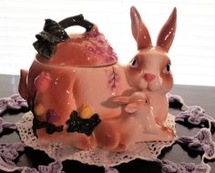 Mother and baby Bunny Cookie Jar Easter Spring Floral Ceramic