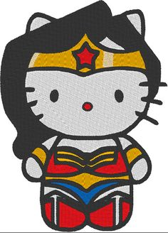 Hello Kitty Wonder Woman Filled Machine Embroidery Design
