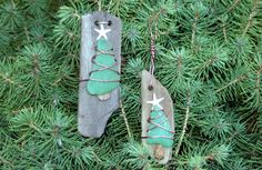 Driftwood & Sea Glass Christmas Tree Handmade Ornaments -Set of 2 - pinned by pin4etsy.com
