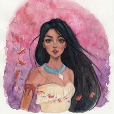 Pocahontas🍂 c: I'm not satisfied with this one, but every painting is a good practise, so it's okay. Anyways, I have a new watercolor set ( Kuretake Gansai Tambi and it's amazing . Drawing Cartoon Characters, Character Drawing, Cartoon Drawings, Cartoon Art, Art Drawings, Drawing Drawing, Disney Princess Drawings, Disney Princess Art, Disney Fan Art