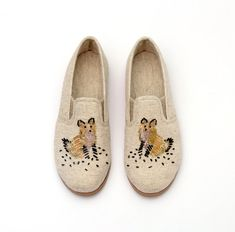 Natural Summer Shoes, Flats, Handmade Shoes, Designer Shoes, Sparkling with beads, A fox embroidery, Rustic chic :)