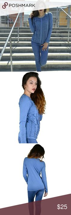 🎉NEW ARRIVAL🎉 Trendy Cut Out Top Pretty blue top with cut out detail.  Model in photo is wearing a size S.  photo courtesy of haia Haia Tops Tees - Long Sleeve
