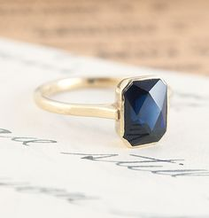 Art Deco Fancy Cut Sapphire Ring #nyc modern-looking ring dates back to the 1930s ERICA WEINER COLLECTION