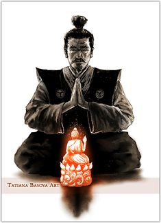 A Buddhist samurai Art Print. Buddhism in Japan. Praying and meditation in Buddhism. Buddha's blessings.