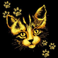 #Cute #Cat #Portrait with #Paws #Prints by #BluedarkArt | #Crated