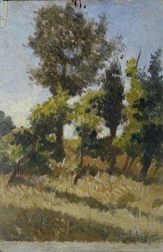 Fattori Giovanni : Alberi e grano  ((1875-1880))  - Olio su tavola - Asta Autori del XIX e XX Sec. e Contemporanei - II - Galleria Pananti -...