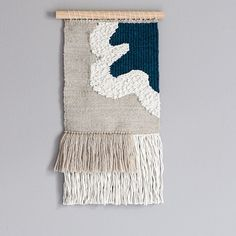 Woven Wall Hanging // Modern Tapestry // Neutral and Deep Teal Tapestry Weaving Wall Hanging, Weaving Art, Loom Weaving, Tapestry Weaving, Tapestry Wall Hanging, Hand Weaving, Teal Tapestry, Modern Tapestries, Weaving Projects