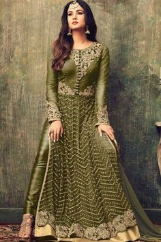 Net Trouser Suit With Dupatta In Olive Green - DMV15099