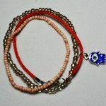 Blue Rhinestone Hamsa Bracelet Set