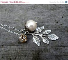SALE Pearl Acorn Necklace Acorn Charm Necklace by TwigsAndLace, $25.50