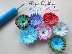 MULTICOLORED FRINGED QUILLED FLOWERS TUTORIAL