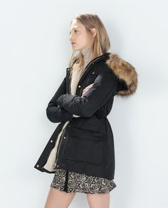 ZARA - WOMAN - LONG WATER REPELLENT PARKA WITH DETACHABLE FUR