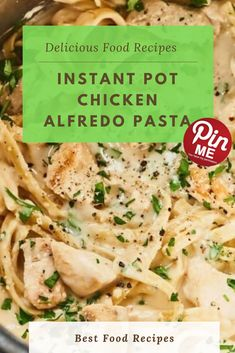 Instant Pot Chicken Alfredo Pasta  While we first found the magic of immediately pot spaghetti, we didn't just create one new recipe. You'll cook dinner the fowl for a few minutes on sauté, upload a jar of alfredo sauce and a few water, toss within the halved fettuccini noodles, then bring everything as much as pressure.  #easycrockpotmeals #crockpotchicken #crockpotchickenrecipes #BestFood Best Chicken Recipes, Chicken Salad Recipes, New Recipes, Chicken Alfredo, Alfredo Sauce, Cook Dinner, Good Food, Yummy Food, A5
