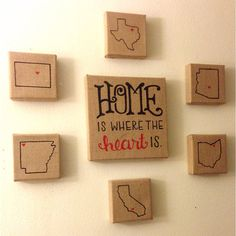 Home Is Where The Heart Is State Burlap Canvases. For when the kids get older and maybe move to different states