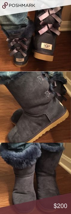 UGG Bailey Bow Boots, Size 9 **PRISTINE** These boots are in like new condition.  I've worn them to the mailbox a few times only.  LOW BALL. OFFERS WILL NOT BE ENTERTAINED! UGG Shoes Winter & Rain Boots