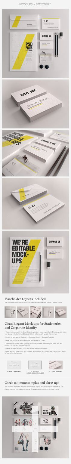 Realistic Stationery Mockups Set 1- Corporate ID by Giallo86.deviantart.com on @deviantART