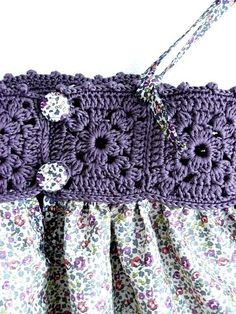 crochet trip on dresslittle girl dresses, crochet top, flower girl dress, for wedding and special occasionsThis Pin was discovered by SasThis is a beautiful dress. Even the cute simple granny squares I can make will work on this one. Crochet Yoke, Crochet Fabric, Crochet Girls, Crochet Baby Clothes, Crochet Chart, Filet Crochet, Crochet For Kids, Crochet Patterns, Diy Crafts Crochet