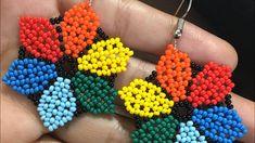 Beaded Earrings Patterns, Bead Earrings, Beading Patterns, Crochet Earrings, Earring Tutorial, Bead Jewellery, Beading Tutorials, Loom Beading, Beaded Flowers