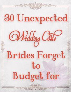 You are going to need to check this list out before you finalize your DIY wedding budget. Make sure you take the opportunity to learn from others mistakes. This list of 30, yes 30! Unexpected weddi…