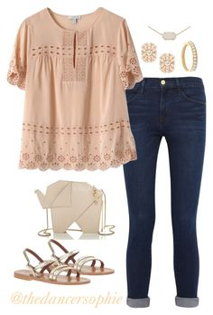 """""""Please pray for my sister!!! Read d"""" by thedancersophie ❤ liked on Polyvore featuring Frame Denim, J.Crew, Kate Spade and Kendra Scott"""