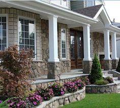 front porch ideas curb appeal Front Porch Stone Columns In Front Porch Columns, House Columns, Front Porch Design, Front Porch Posts, Porch House Plans, House With Porch, House Front, House Yard, Stone Front House