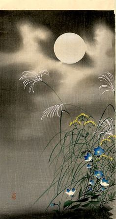 Moon and Blue flowers - Ohara Koson