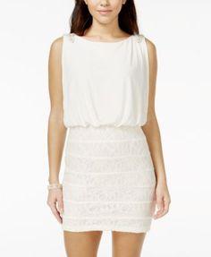 City Studios Juniors' Lace Blouson Dress