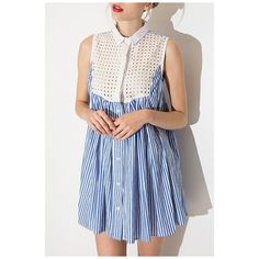 New Lapel Single Breasted Patchwork Striped Sleeveless Color Block... ($38) ❤ liked on Polyvore featuring dresses, mini dress, blue mini dress, blue striped dress, striped dresses and striped shirt dress