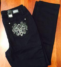 Woman's Miss EARL JEAN Skinny Bling Me Size14 Black Fleur De Lis Sexy! NWT'S $54 #EarlJeans #Skinny