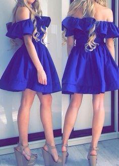 Classy Off Shoulder Royal Blue Dress