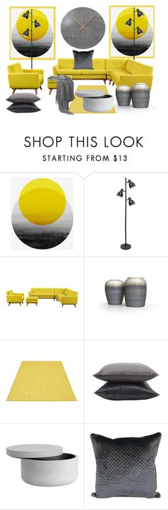 """Grey & Yellow Home"" by ragnh-mjos ❤ liked on Polyvore featuring interior, interiors, interior design, home, home decor, interior decorating, Lite Source, Pappelina and Jayson Home"
