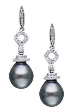 14K White Gold 9-9.5mm Black Tahitian & Pave Diamond Drop Earrings