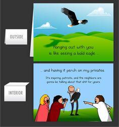 Bald Eagle on Privates - Greeting Card - The Oatmeal