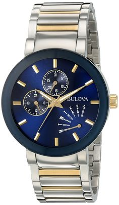 Bulova Men's Quartz Stainless Steel Dress Watch, Color:Two Tone (Model: 98C123). Stainless steel with silver-tone and gold-tone finish, blue dial, curved mineral glass. Six hand multi feature movement. Quartz Movement. Case Diameter: 40mm. Water Resistant To 30m (100ft): In General, Withstands Splashes or Brief Immersion In Water, but not Suitable for Swimming or Bathing.
