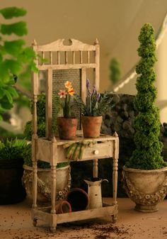 Rustic Plantstand with Flowers for Dollhouse by ArgusMinis on Etsy, $75.00