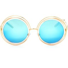 BLUE Round We Go Metallic Sunglasses ($9.90) ❤ liked on Polyvore featuring accessories, eyewear, sunglasses, blue, imitation sunglasses, blue round sunglasses, mirror lens sunglasses, round glasses and fake sunglasses