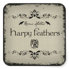 Harpy Feathers Halloween Jar Sticker Label - Great for crafting your own witch jars!